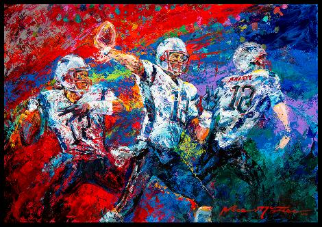 The Release Tom Brady throwing the football by Jace McTier NFL Patriots Pats Football Art Red Blue Purple 12